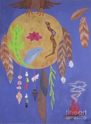 Red Tail Hawk Painting - Dream Spirit Shield by Ellen Levinson