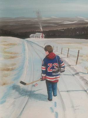 Shinny Hockey Painting - Dream Walking - Lil Ranger by Ron  Genest