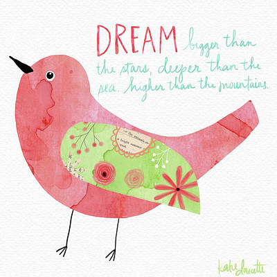 Inspirational Painting - Dream Watercolor Bird by Katie Doucette