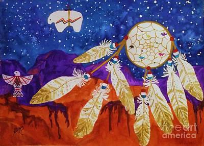 Dreamcatcher Painting - Dreamcatcher Over The Mesas by Ellen Levinson