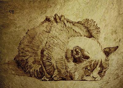 One Animal Painting - Dreaming Cat by Daniel Yakubovich