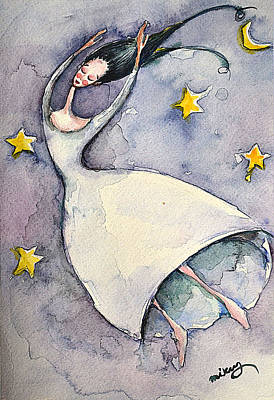 Night Angel Painting - Dreaming Girl I by Mikyong Rodgers