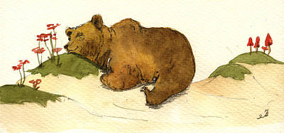 Mushroom Painting - Dreaming Grizzly Bear by Juan  Bosco