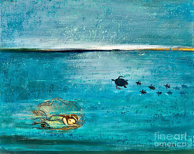 Ocean Turtle Painting - Dreaming Mermaid by Shijun Munns