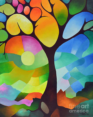 Tangerines Painting - Dreaming Tree by Sally Trace