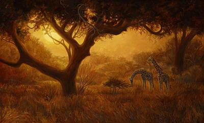 Giraffe Painting - Dreamland by Lucie Bilodeau
