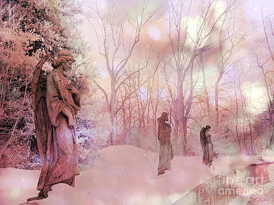 Dreamy Angel Surreal Ethereal Pink Woodlands With Angels And Statues Print by Kathy Fornal
