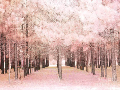 Dreamy Baby Pink Trees Woodlands Forest Fairytale Fantasy Nature - Shabby Chic Pink Trees Woodlands Print by Kathy Fornal