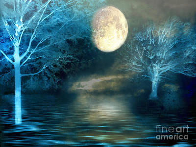 Surreal Art Photograph - Dreamy Blue Moon Nature Trees - Surreal Full Blue Moon Nature Trees Fantasy Art by Kathy Fornal