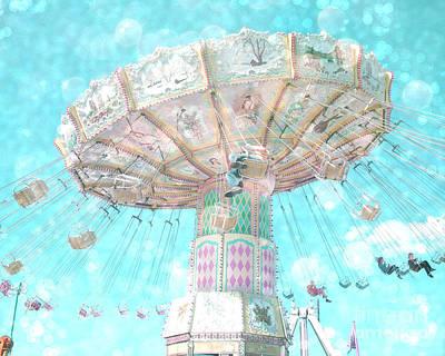 Surreal Ferris Wheel Photograph - Dreamy Carnival Ferris Wheel Swing Ride Aqua Teal Blue Bokeh Circles And Hearts by Kathy Fornal