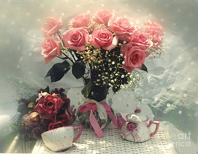 With Photograph - Dreamy Cottage Chic Pink Roses And Teapot  by Kathy Fornal