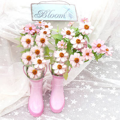 Dreamy Cottage Garden Art - Shabby Chic Pink Flowers Garden Bloom With Pink Rain Boots Print by Kathy Fornal