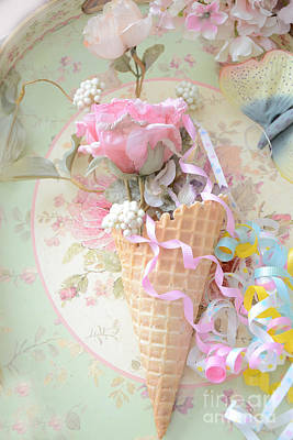 Dreamy Food Photograph - Dreamy Cottage Shabby Chic Romantic Floral Art With Waffle Cone And Party Ribbons by Kathy Fornal