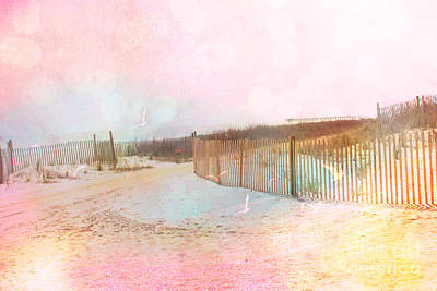 Pale Pink Coastal Photograph - Dreamy Cottage Summer Beach Ocean Coastal Art by Kathy Fornal