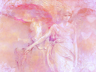 Dreamy Ethereal Angel Photography - Ethereal Pink Angel With White Hearts Print by Kathy Fornal