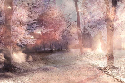 Dreamy Fantasy Surreal Pastel Tree Landscape Print by Kathy Fornal