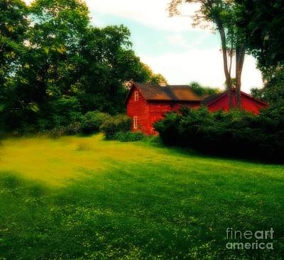 Dreamy Summer Landscape With Red Barm Print by Maggie Vlazny