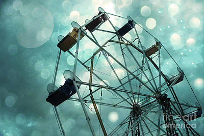 Festival Photograph - Dreamy Mint Green Teal Carnival Ferris Wheel With Moon And Bokeh Circles  by Kathy Fornal