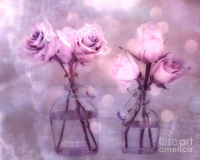 Floral Photograph - Dreamy Pink And Purple Cottage Floral Shabby Chic Roses - Impressionistic Romantic Pink Floral Art  by Kathy Fornal