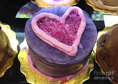 Dreamy Food Photograph - Dreamy Pink And Purple Cottage Romantic Heart Cake - Valentine Hearts Cake Art Decor by Kathy Fornal