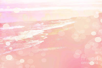 Dreamy Pink Beach Ocean Coastal Wrightsville Beach North Carolina - Surreal Pink Bokeh Ocean Waves Print by Kathy Fornal