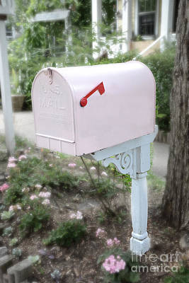 Dreamy Pink Mailbox - Shabby Chic Cottage Chic Garden Pink Mailbox - Romantic Pink Mailbox Print by Kathy Fornal