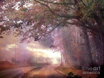 Dreamy Pink Nature Landscape - Surreal Foggy Scenic Drive Nature Tree Landscape  Print by Kathy Fornal