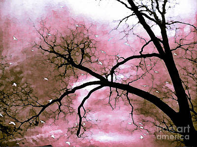 Dreamy Pink Surreal Trees Fantasy Nature Print by Kathy Fornal