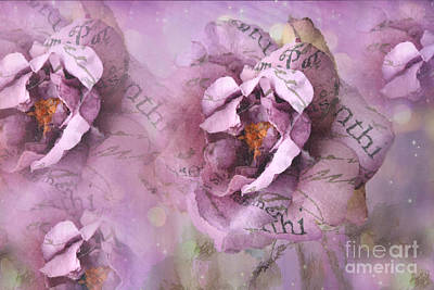 Dreamy Purple Lavender Impressionistic Abstract Floral Art Photography Print by Kathy Fornal