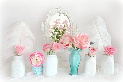 Dreamy Romantic Shabby Chic Pink White Floral Decor - Romantic Shabby Chic Flower Prints  Print by Kathy Fornal