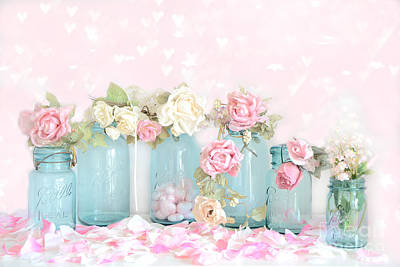 Dreamy Shabby Chic Pink White Roses  - Vintage Aqua Teal Ball Jars Romantic Floral Roses  Print by Kathy Fornal
