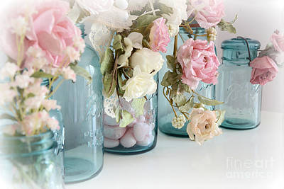 Mason Jars Photograph - Shabby Chic Blue Aqua Ball Mason Jars - Vintage Blue Ball Jars With Flowers - Roses Mason Jars by Kathy Fornal