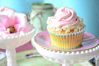Dreamy Food Photograph - Dreamy Shabby Chic Cupcake Vintage Romantic Food And Floral Photography - Pink Teal Aqua Blue  by Kathy Fornal