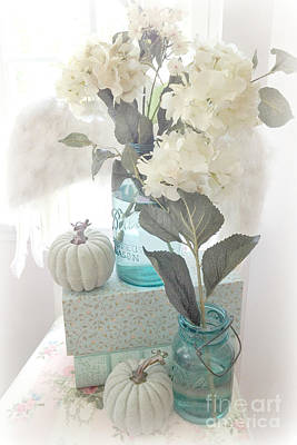 Mason Jars Photograph - Dreamy Shabby Chic Pastel White Hydrangeas In Aqua Mason Jars - Autumn Fall Cottage Floral Decor by Kathy Fornal