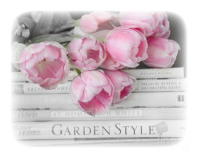 Dreamy Shabby Chic Pink Pastel Tulips - Pink Tulips Cottage Garden Books Decor Print by Kathy Fornal