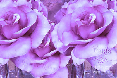 Dreamy Shabby Chic Purple Lavender Paris Roses - Dreamy Lavender Roses Cottage Floral Art Print by Kathy Fornal