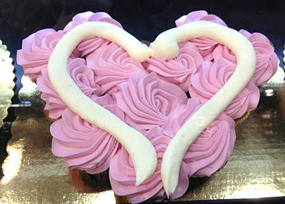 Dreamy Food Photograph - Dreamy Shabby Chic Romantic Pink Heart Cake Art - Romantic Valentine Pink Heart Cake  by Kathy Fornal