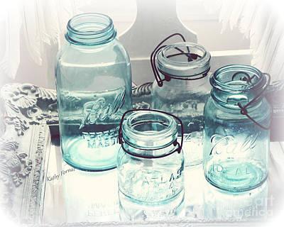 Dreamy Shabby Chic Vintage Ball Mason Atlas Jars - Aqua Blue Vintage Mason Ball Jars Print by Kathy Fornal