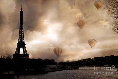 Dreamy Surreal Eiffel Tower Hot Air Balloons Sepia Print by Kathy Fornal