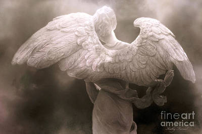 Dreamy Surreal Ethereal Angel Art Wings - Spiritual Ethereal Angel Art Wings Print by Kathy Fornal
