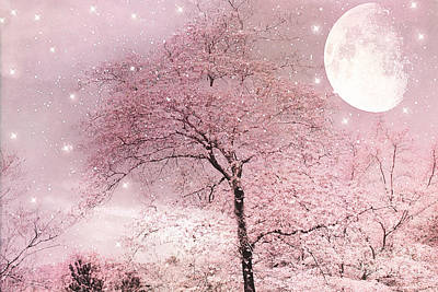 Dreamy Surreal Pink Fairytale Nature Trees Moon And Stars - Shabby Chic Pastel Pink Fairytale Nature Print by Kathy Fornal