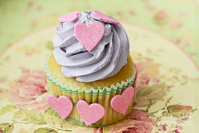 Dreamy Food Photograph - Dreamy Valentine Cupcake Pink Hearts Romantic Food Photography  by Kathy Fornal