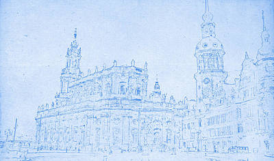 Dresden Germany Blueprint Print by Celestial Images