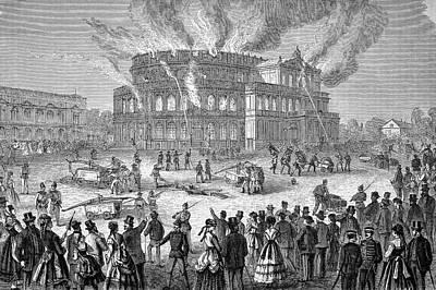 Dresden Photograph - Dresden Opera House On Fire by Bildagentur-online/tschanz