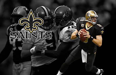 Drew Brees Saints Print by Joe Hamilton