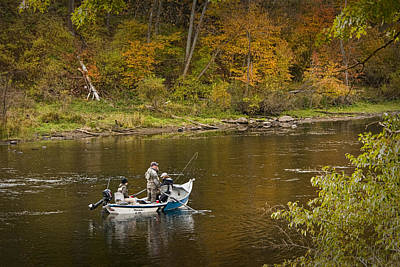 Drift Boat Photograph - Drift Boat Fishermen On The Muskegon River by Randall Nyhof