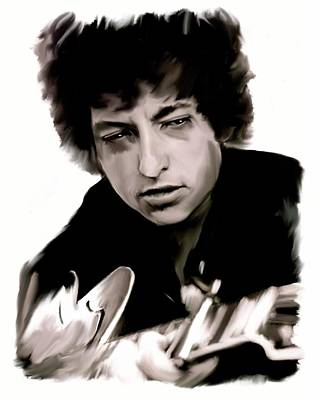 Bob Dylan Drawing - Drifting Words II   Bob Dylan by Iconic Images Art Gallery David Pucciarelli
