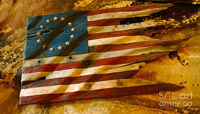 Driftwood Flag Print by Cheryl Young