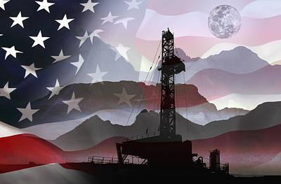 U.s Mixed Media - Drilling For America by Daniel Hagerman