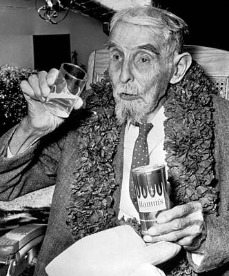 Celebrate Photograph - Drinking Beer At Age 107 by Underwood Archives